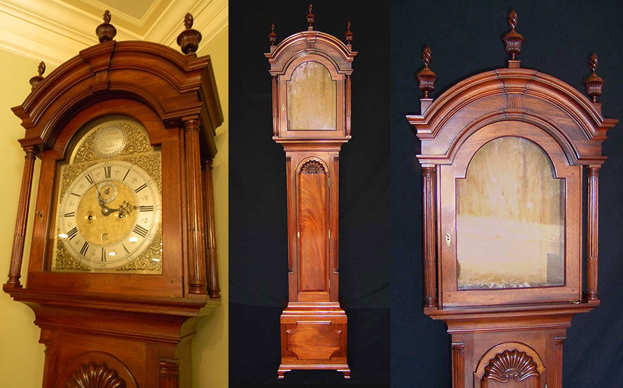 Newport Tall Clock, mahogany. Built for a clock collector who has a passion for period furniture, this piece enjoys pride of place as one of his favorites clocks.
