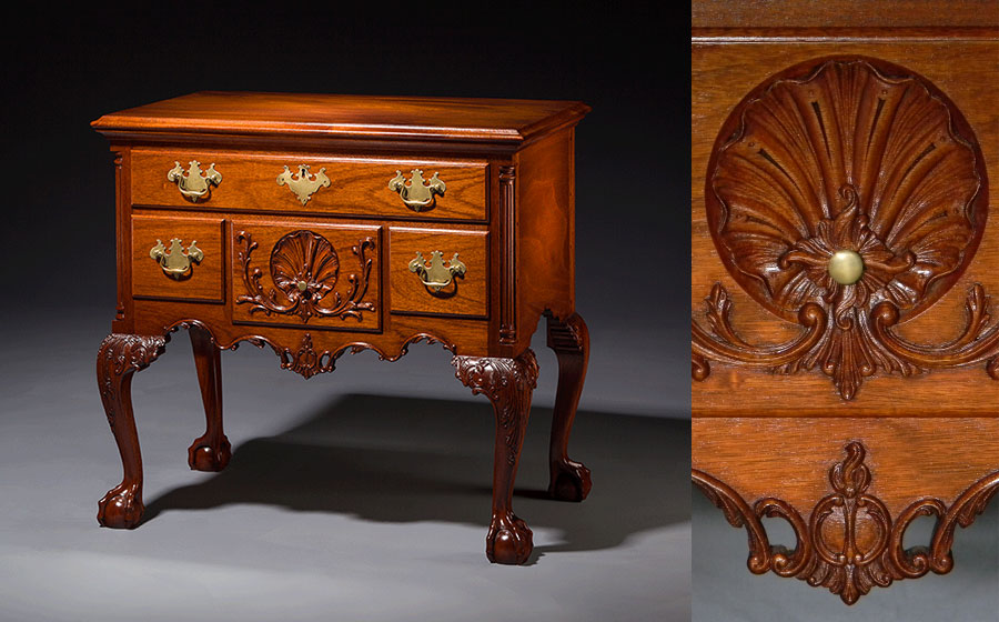 Philadelphia Lowboy, mahogany. Built on spec, the intricately carved apron, knees and drawer front and elegant proportions really make this a stunning piece.