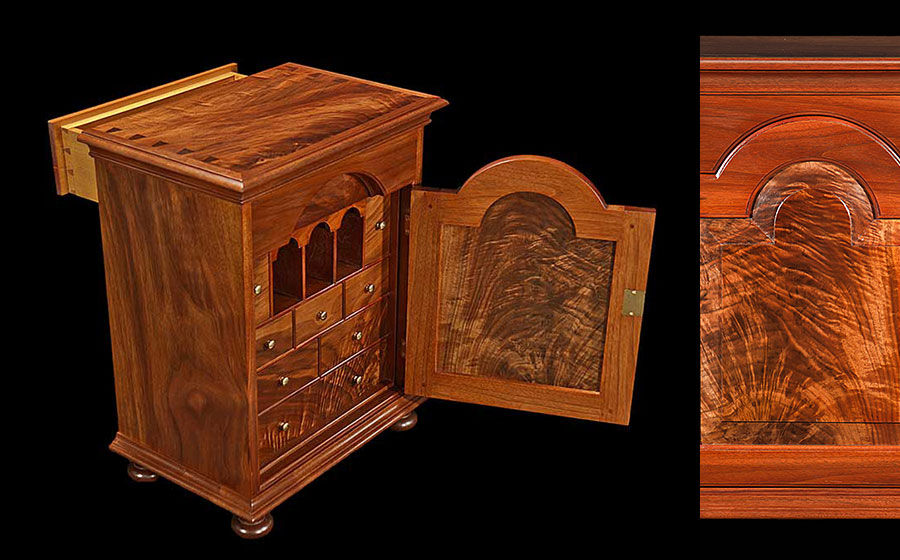 Spice Chest, walnut. This small chest with its many drawers and cubbies is about 20 inches tall and really highlights the incredible piece of walnut crotch on the door.
