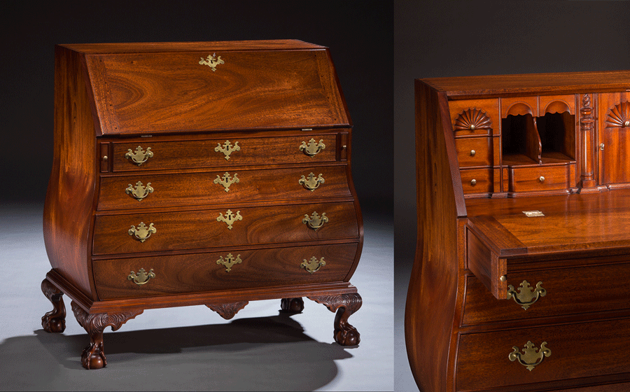 Boston Style Bombe Desk, mahogany. A scaled down version of an important American Chippendale piece, this beautifully proportioned Bombe desk features the Boston style ball and claw foot with the swept back side talons and several hidden compartments in the interior.