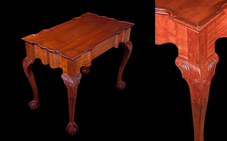 Newport Tea Table, mahogany. This beautifully shaped table is a reproduction of a piece originally built by John Goddard of Newport RI in the mid 1700's. A rare feature is the space above the ball which brings a whole new dimension to the ball and claw foot. This piece won the 'Best in Wood' award at the 2011 League of NH Craftsmen Living with Craft Exhibit.