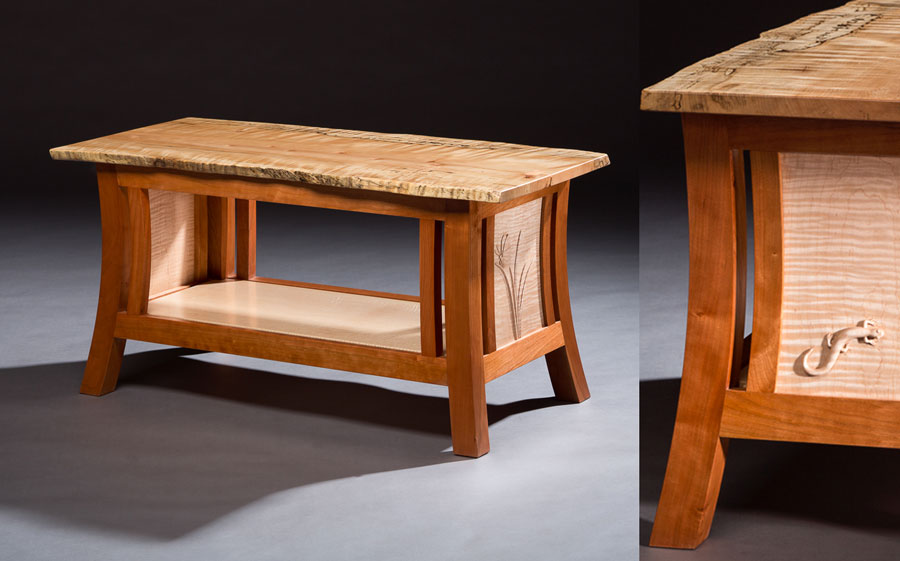 Namesake for a new style i am developing, 'Through the Forest, Lightly', this piece features a live edge top and subtle curves and angles in the legs. Nature is my inspiration here with carvings of the salamander and butterfly on the end panels.