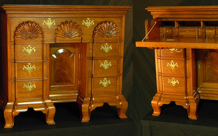 Newport Kneehole Desk, mahogany. One of my favorite pieces, I love the blocked shape flowing into the feet and the tombstone shape of the frame and panel door.